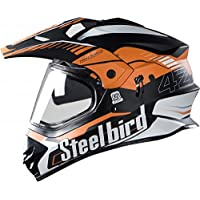Steelbird SBH-13 Bang Airborne 600mm with Plain Visor Full Face Helmet (Orange and Black, L)