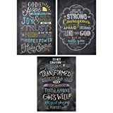 Creative Teaching Press Wall Décor, Religious Bible Verses in Chalk Rejoice Inspire U Poster 3 Pack, CT 2274