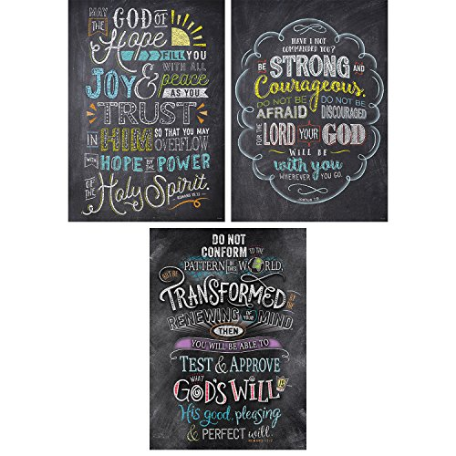 (Creative Teaching Press Wall Décor, Religious Bible Verses in Chalk Rejoice Inspire U Poster 3 Pack, CT 2274)
