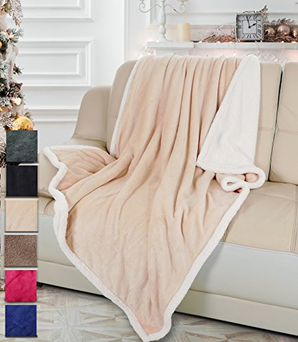 Sherpa/Plush Throw Blanket Latte Throw Size 50