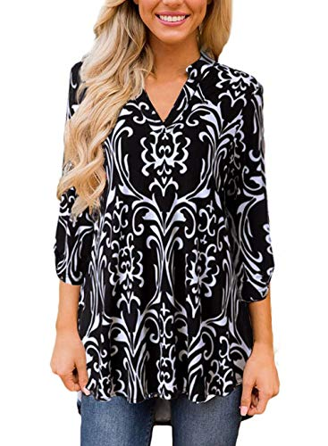 TrendiMax Women Casual Split V Neck Loose Cuffed 3 4 Sleeve Floral Print Tunic Top Blouses (9 Floral Pattern) (S,
