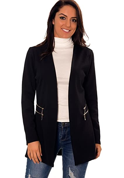 buy online 3cc89 b306c Giacca Blazer Donna Lunga Nera con Doppia Zip sulle Tasche ...