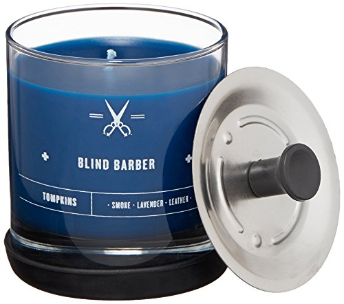 """Blind Barber""""Tompkins"""" Scented Candle - Leather, Smoke & Lavender Scent for Men & Women, Natural Soy Wax with 40 Hour Burn Time (6.2 Ounces)"""