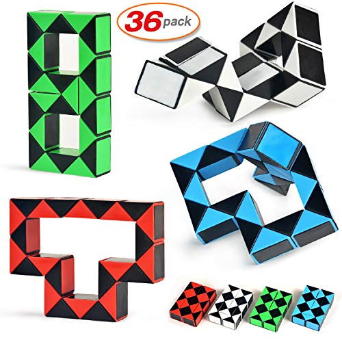 Yo-fobu 36 Pack Snake Cube Speed Cube Snake Ruler Pack Magic Snake Twist Puzzle Cubes Collection Brain ()