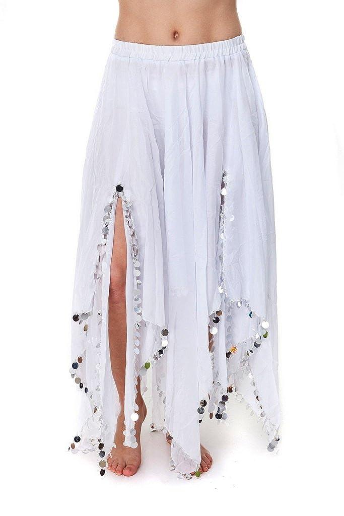 Turkish Emporium falda danza oriental (blanco plateado): Amazon.es ...