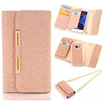 """For iPhone 6 Plus / iPhone 6S Plus Case, Karia Bling Glitter Diamond PU Leather Wallet Multi-functional Handbag Detachable Removable Magnetic Case with Flip Card Holder Cover for iPhone6 Plus/6S Plus 5.5"""" Rose Gold"""