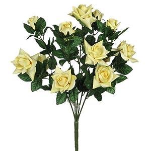 "Artificial Flowers Silk Satin Rose Flower Bush Wedding Bridal Bouquet, 23"" L, Yellow 101"