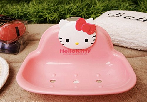 [Hello Kitty Soap Dish Holder Caddy with Suction Cup] (Hello Kitty Soap Dish)