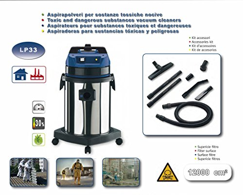 EOLO PROFESSIONAL VACUUM CLEANER FOR TOXIC HARMFUL SUBSTANCES + ACCESSORIES KIT LP33 (33 litres) MADE IN ITALY