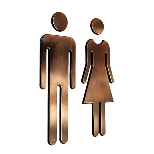 Tocone Adhesivo Acrílico Señales Baño Signo Mujer Hombre Placa Puerta WC Señalización Aseos 6,5x20cm
