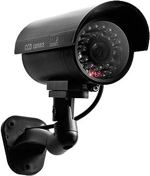 Opinión sobre OWSOO Cámara Falsa, Dummy Cámara, Cámara de Vigilancia CCTV Falsa Impermeable, con Luz LED Roja Intermitente, Cámara Interior y Exterior para Jardín Patio Porche