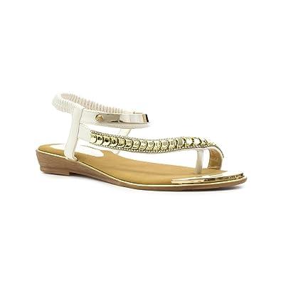 Lunar Damen Weiß Flache geschwungene Zehensteg-Sandale - Größe 37 - Weiß Ggtjwv