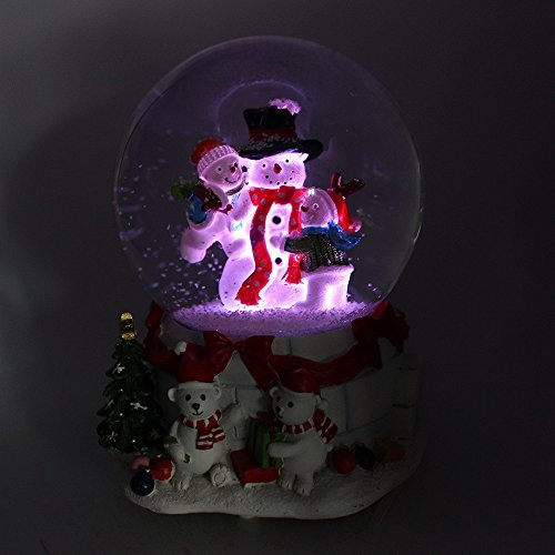 Snowman Musical Snow Globe with Multi lighting, LED Water (Musical Snowman Snowglobe)
