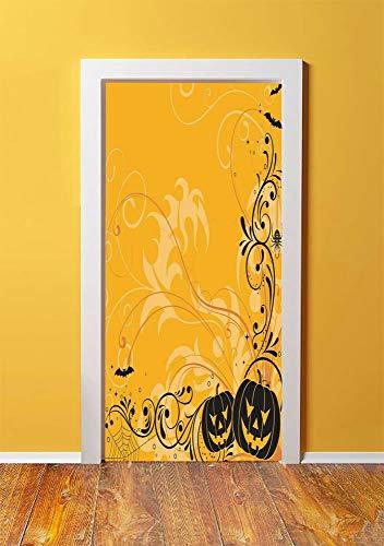 Halloween Decorations 3D Door Sticker Wall Decals Mural Wallpaper,Carved Pumpkins with Floral Patterns Bats and Webs Horror Artwork,DIY Art Home Decor Poster Decoration 30.3x78.1736,Orange Black]()