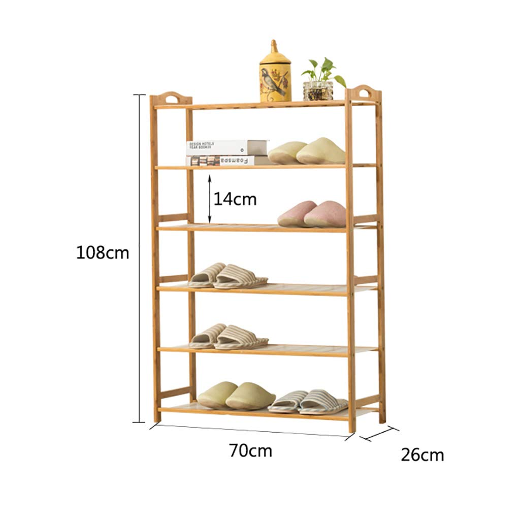 7026108CM Entrance 6 Floor shoes Rack shoesbox shoes Bench Shelf Storage Shelf Hot Pot Rack shoesbox Multifunction Household Dorm Room Space Saving Doorway Living Room Bamboo (Size   70  26  108CM)