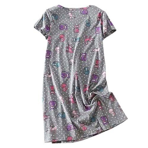 ENJOYNIGHT Women's Sleepwear Cotton Sleep Tee Short Sleeves Print Sleepshirt (Large, Cat) ()