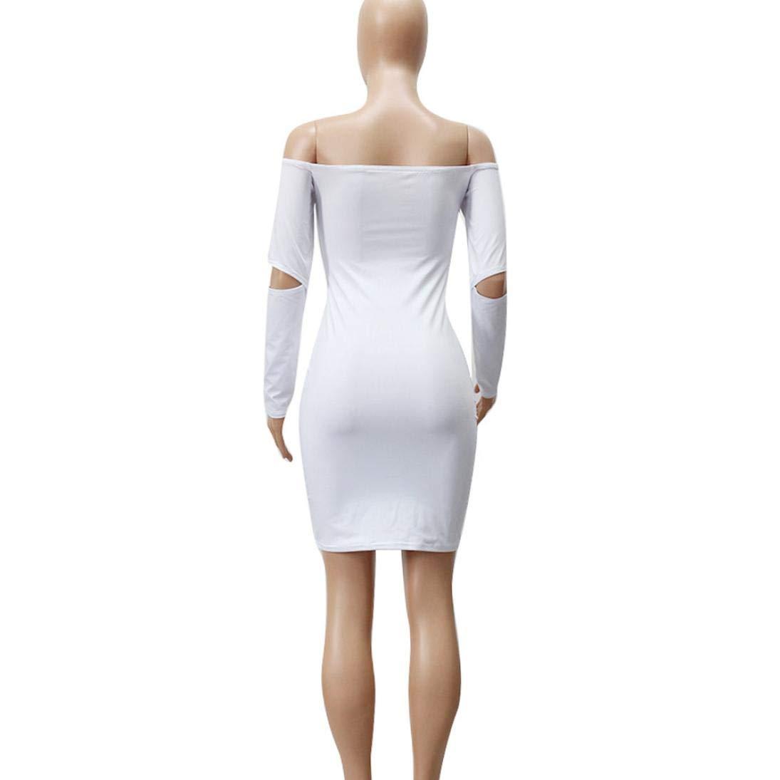 OverDose mujer Atractivas Fuera del Hombro Bodycon Vestidos De Manga Larga Club Sexy Bolso Falda De La Cadera del Partido del Vestido De Coctel: Amazon.es: ...