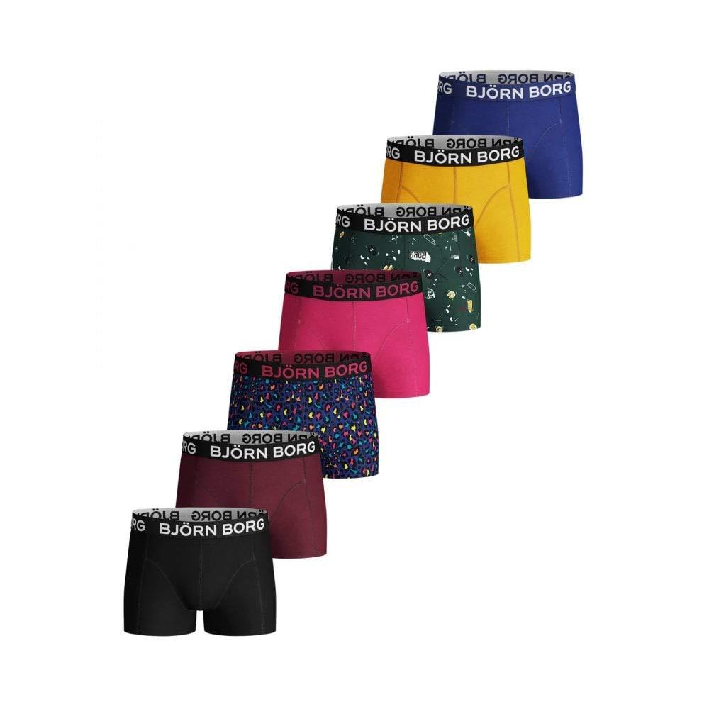 Bjorn Borg 7-Pack Prints /& Solids Boys Boxer Trunks Blue//Burgundy//Black///&More