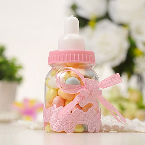 Baby Shower Favors 12 Pieces Pink Fillable Candy Bottles and 50 Pieces Mini Acrylic Pacifiers Girl Newborn Infant Baptism Christening Birthday Party Decoration Geek-M