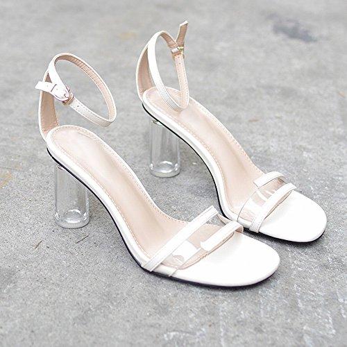 Transparentes Sandalias Crystal Hebilla Word Thick Wild Tac DHG con Shoes de Zapatos Fairy a1qpdx5Fw