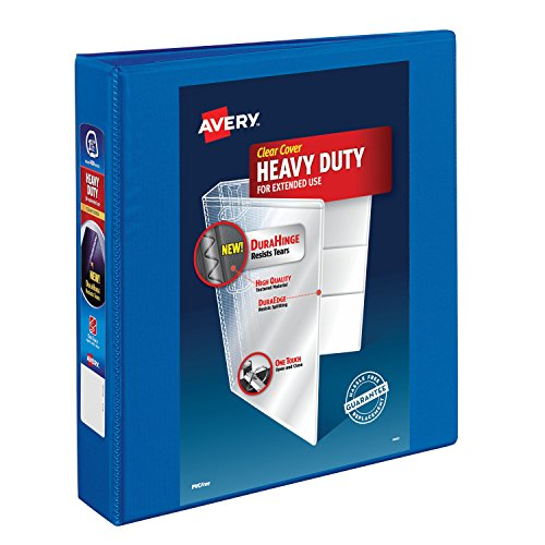 Avery Heavy-Duty View Binder, 1-1/2 One Touch Slant Rings, 375-Sheet Capacity, DuraHinge, Pacific Blue (79722)