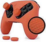 Nintendo Switch Pro Controller Skin Set by Foamy Lizard – AlphaPro Grip, STUDDED Sweat Free Silicone Cover w/ Flat Anti-slip Studs PLUS set of 4 QSS-Pro Thumb Grips (SKIN + QSS-P GRIPS, RED)