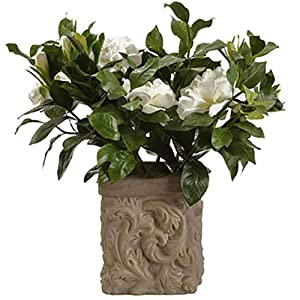 18″ Silk Gardenia Flower Arrangement w/Stone Pot -Cream/Green