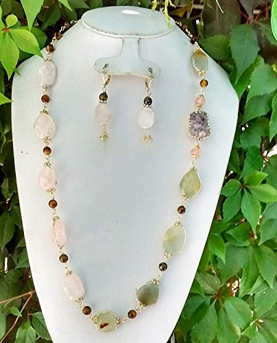 Handmade, Gemstone, Necklace, Rose quartz, amethyst quartz, Mexican onyx, Lodolite and Tiger eye. Include gold plated earrings