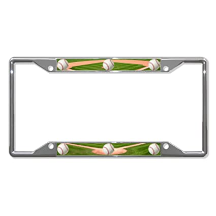 Amazoncom Baseball Chrome License Plate Frame Tag Holder Four