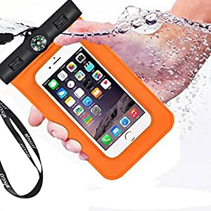 Bingo Lifetime Warranty Underwater Waterproof Case With Compass Durable Slim Pouch Dry Bag Watertight Sealed System for iPhone 6 6 Plus,Waterproof Bag for Galaxy S5, S4 S3, HTC One, Galaxy Note 3 Comes with Neck Lanyard & Arm Band, Universal Pouch To Safeguard Your Phone From Water-IPX8 Certified to 20M,Great to Use While you Snorkel, Swim, Snowboard, Boat, Kayak(Orange), [Importado de UK]