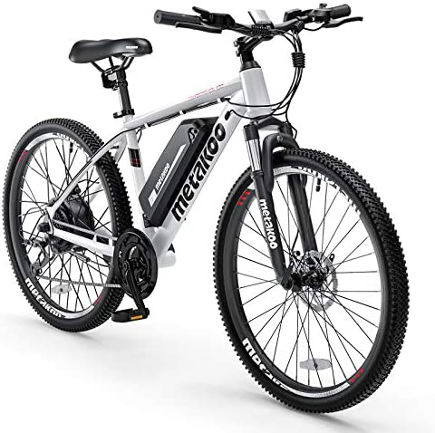 "METAKOO 26"" Electric Mountain Bike, 3 Hours Fast Charge 36V/10.4Ah Removable Lithium-Ion Battery, BAFANG 350W Brushless Motor, Electric Commuter Bicycle with Suspension Fork (Cybertrack 100)"
