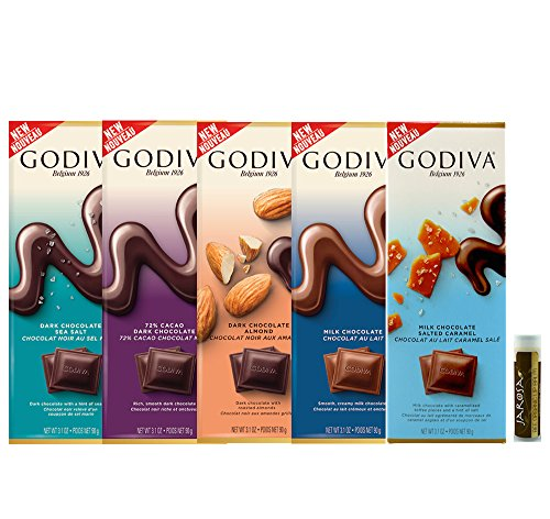 Godiva Chocolate Lover's Tasting Set - 5 Tablet Bars: Dark Sea Salt, Dark Chocolate, Dark Almond, Milk Chocolate & Milk Salted Caramel with a Jarosa Bee Organic Chocolate Lip Balm ()