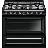 Smeg TRU36GGBL 36 Victoria Series Gas Freestanding Range with 5 Burners, in Glossy Black