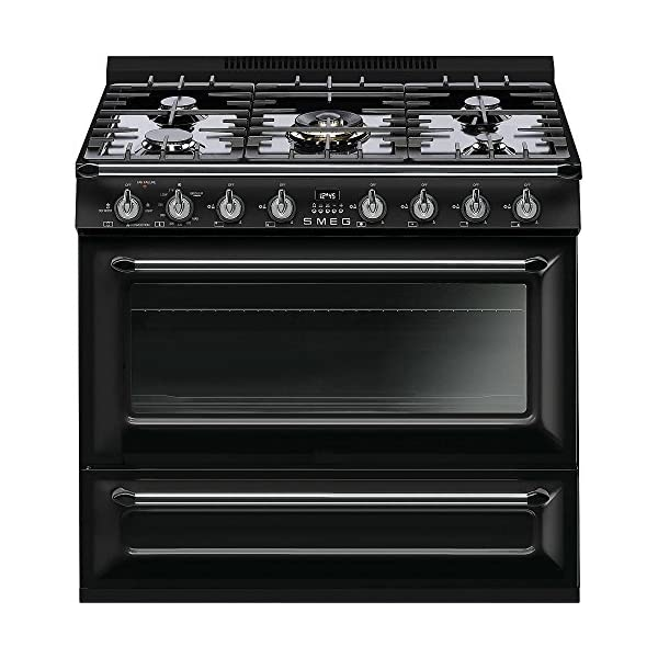 Smeg 36'' Victoria 5 Burner Freestanding All-Gas Range, 4.4 Cu. Ft. Primary Oven Capacity 8 Cooking Modes,Glossy Black 1