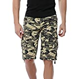 LOGEEYAR Men's Casual Solid Cotton Multi-Pocket Cargo Camouflage Shorts Outdoor Wear(956-Khaki,36)