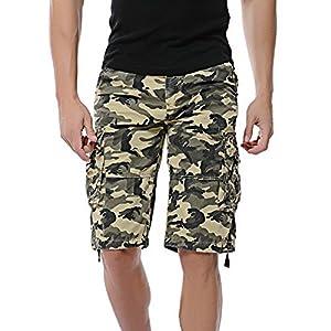 LOGEEYAR Men's Casual Solid Cotton Multi-Pocket Cargo Camouflage Shorts Outdoor Wear