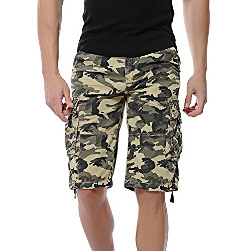 DAVID.ANN Men's Multi-Pocket Camouflage Cargo Shorts(without belt)