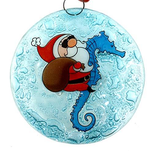 Ruth's Ethical Goods Santa Riding a Seahorse Christmas Tree Ornament - Art Glass Light Catcher Art Glass Christmas Tree Ornament
