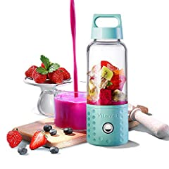 Kacsoo Detachable Smoothie Blender: Capacity: 17oz(500ml) Motor: 22000 rpm±15%; DC 7.4V Single working hours: 20s for a cup Number of Speeds: 1 Battery Capacity:4000mAh Temperature: below 158℉(No hot water) Care and Cleaning: Dishwashe...