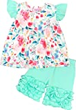 Angeline Baby Toddler Girls Summer Watercolor Floral Ruffles Short Set Mint 6/XXL