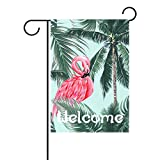 My Daily Flamingo and Coconut Tree Welcome Summer Decorative Double Sided House Flag 28 x 40 inches Review
