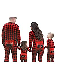 JJAI Red Plaid Onesie Adult Family Matching Pajamas