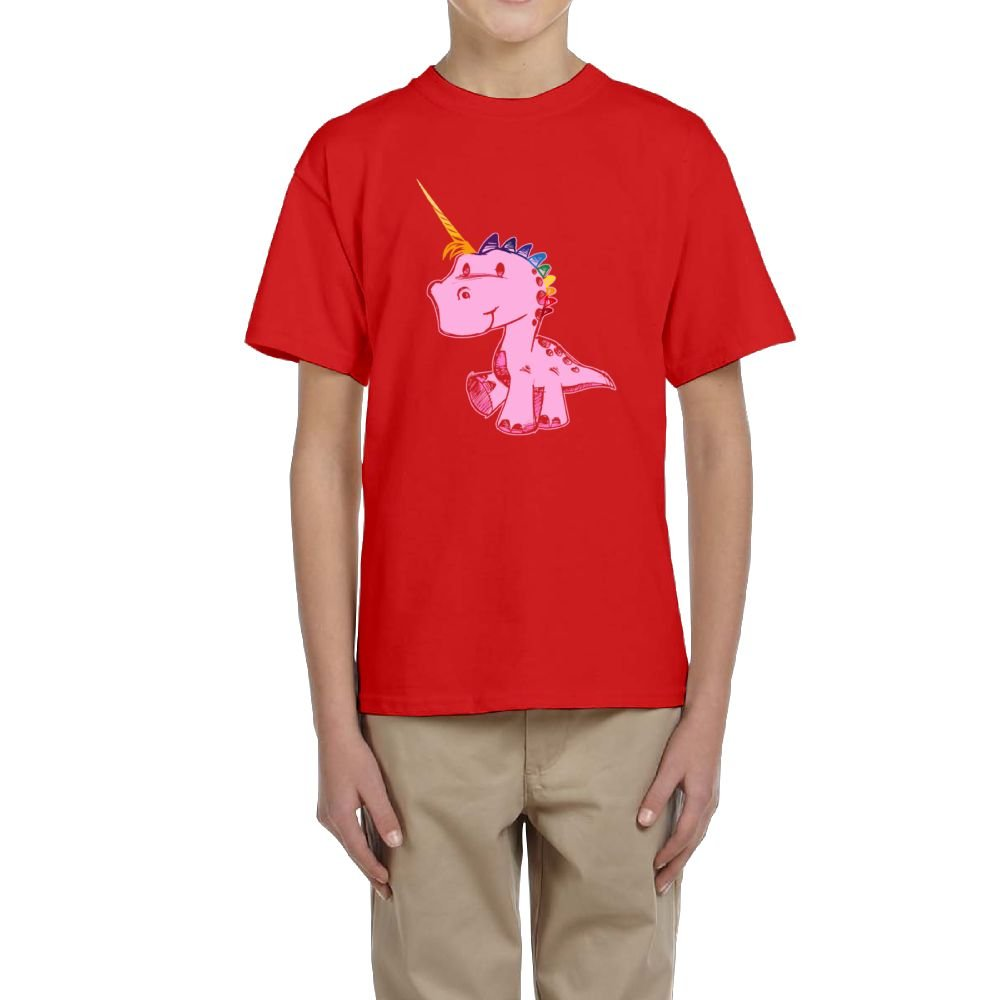Short Sleeve T-Shirt Crew-Neck Pink Dinosaur Dressed up As A Unicorn for Boys