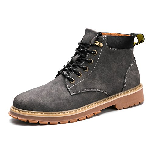 Mens Leder Freizeit Sehnen Schuhe Dress Herbst Business Stiefel Mode Rutschen Schwarzbraun Grau