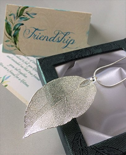 Smiling Wisdom - Silver Real Leaf Friendship Necklace Gift Set - Reason Season Lifetime Friendship Greeting Card - Long Sweater Leaf Statement Necklace - For Her, Awesome Best Friend - Silver Color