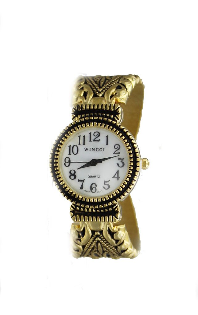 Women's Vintage Style Easy Read Bangle cuff Watch-Gold Tone