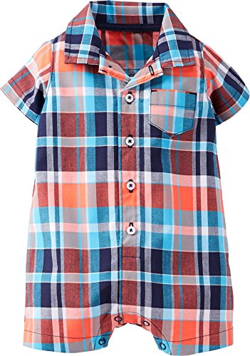 Carter's Check Romper -Red/Blue Plaid-12 Months