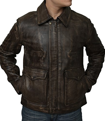 PLG Men's Indiana Jones Harrison Ford Classic Genuine Cow Hide Brown Leather Jacket (3XL - Suitable For Size 46