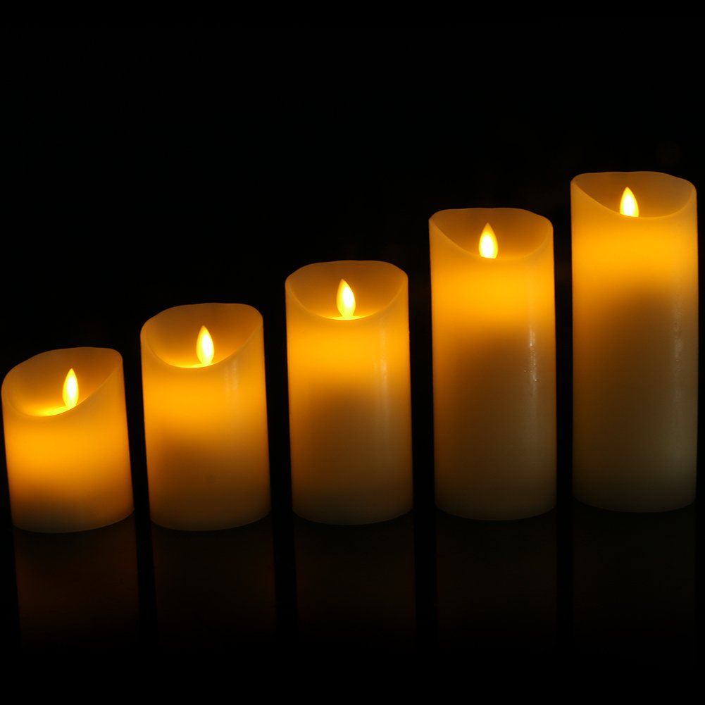 Flameless Candles Flickering Light Pillar Real Smooth Wax with Timer and 10-key Remote for Wedding,Votive,Yoga and Decorationset of 6 by ZTD (Image #9)