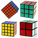 Magic Speed Cube Puzzle set speed cubes 2x2 3x3 4x4 5x5 Sticker Speed Cube bundle Black by WiAllFun